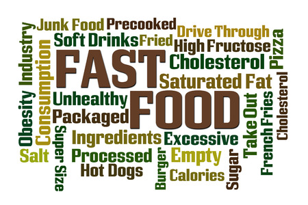 processed: Fast Food word cloud on white background