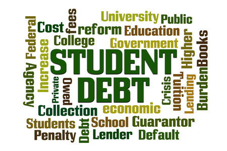debt collection: Student Debt word cloud on white background Stock Photo