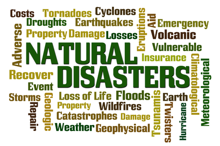 tsunamis: Natural Disasters word cloud on white background