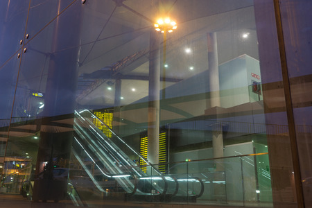 VALENCIA, SPAIN - SEPTEMBER 27, 2014: Inside the Valencia airport in early morning - situated 8 km from the city it is the 8th busiest Spanish airport with flight connections to 15 European countries.