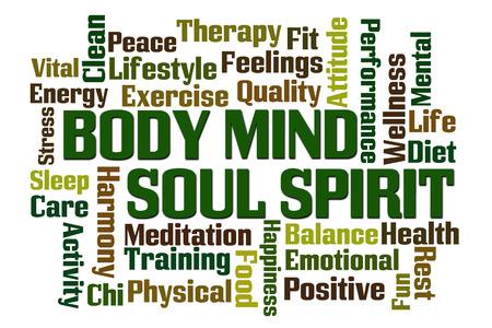 Body Mind Soul Spirit woord wolk op een witte achtergrond