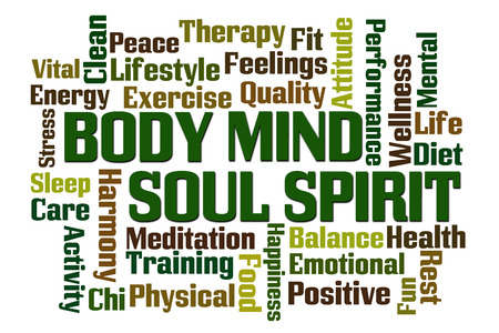 positive positivity: Body Mind Soul Spirit word cloud on white background Stock Photo