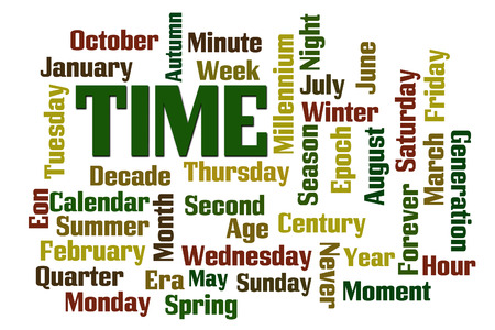 Time, Months, Days word cloud on white background photo