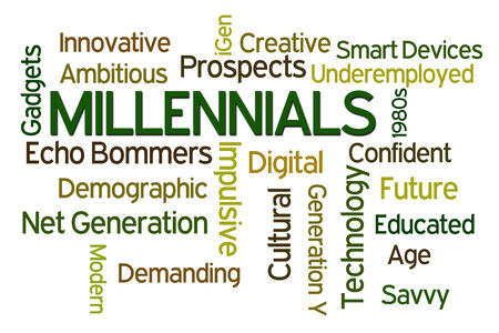 Millenials word cloud on white background Stock Photo