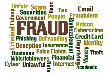 Fraud word cloud on white background photo
