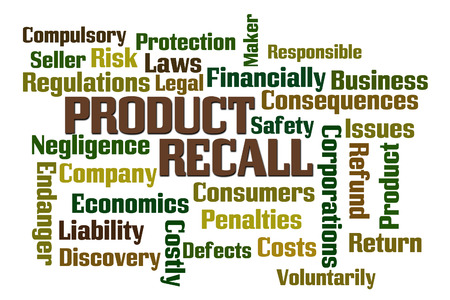 Product Recall word cloud on white background Фото со стока