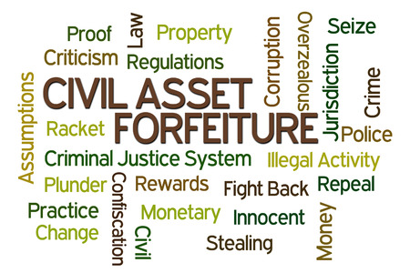 confiscation: Civil Asset Forfeiture word cloud on white background
