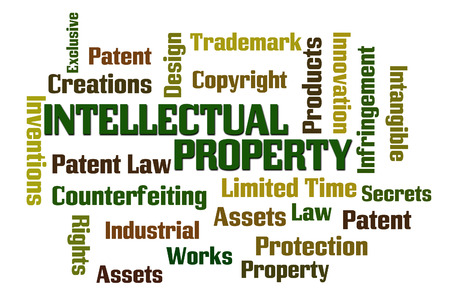 counterfeiting: Intellectual Property word cloud with white background