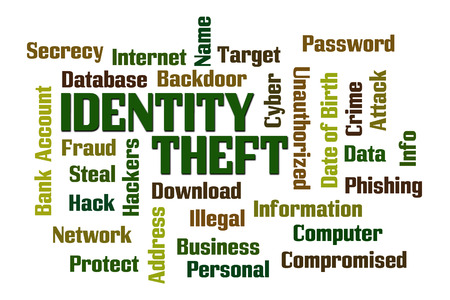 Identity Theft word cloud on white background photo