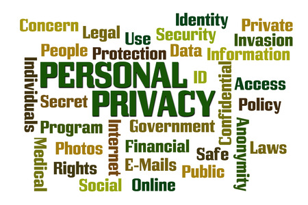 private information: Personal Privacy word cloud on white cloud Stock Photo