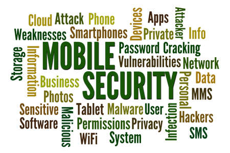 vulnerabilities: Mobile Security word cloud on white background Stock Photo