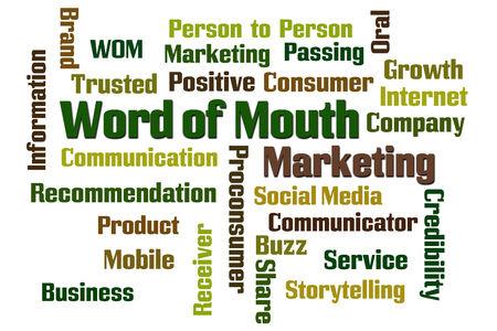comunicacion oral: Word of Mouth nube de palabras de marketing en el fondo blanco
