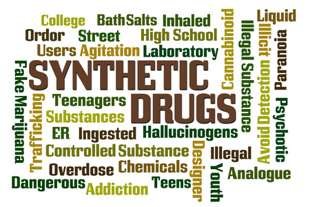 Synthetic Drugs word cloud on white background Stock Photo