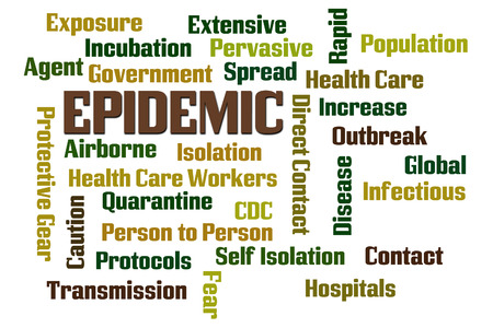 Epidemic word cloud on white background Stock Photo
