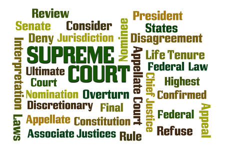 Supreme Court word cloud on white background Stock Photo