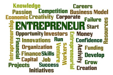 iniciativas: Empresario palabra nube sobre fondo blanco