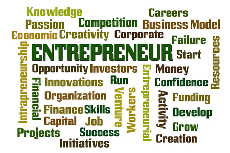 initiatives: Entrepreneur word cloud on white background