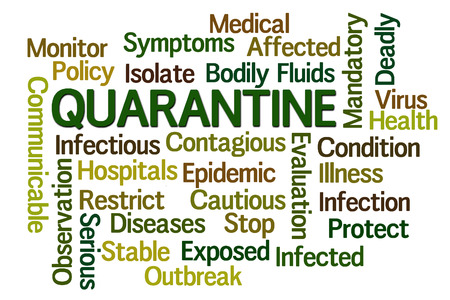 quarantine: Quarantine word cloud on white background