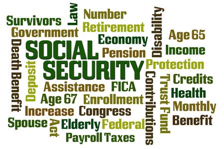 seguridad social: Seguridad Social de nube de palabras en el fondo blanco