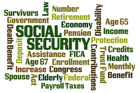 Social Security word cloud on white background photo