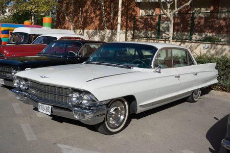 VALENCIA, SPAIN - OCTOBER 26, 2014: A white 1962 Classic Cadillac Sixty Special at the Manises Car show in Valencia, Spain. Editorial