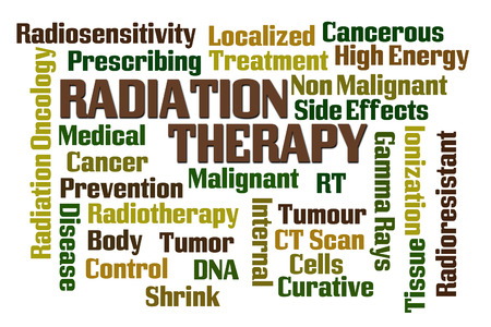 radiation therapy: Radiation Therapy word cloud on white background Stock Photo