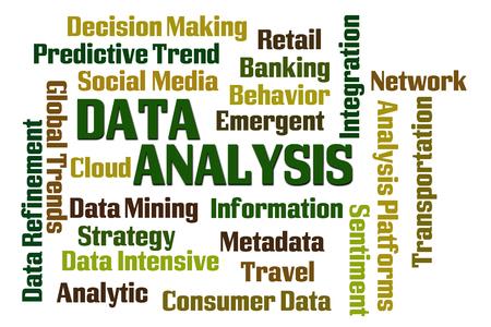 metadata: Analisi dei dati nuvola parola su sfondo bianco