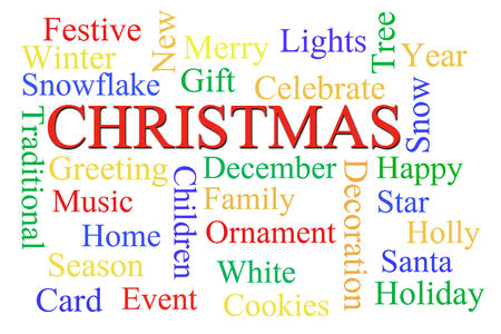 Christmas word cloud on white background photo