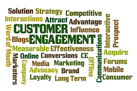 marketers: Customer Engagement word cloud on white background Stock Photo