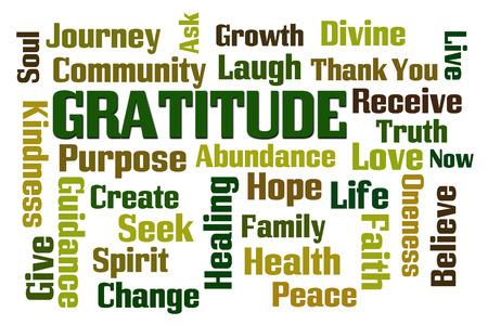 Gratitude word cloud on white background photo