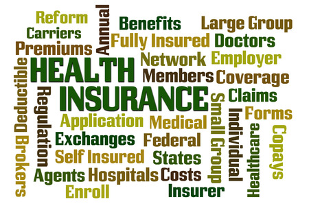 premiums: Health Insurance word cloud on white background