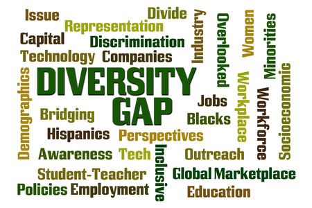 bridging the gap: Diversity Gap word cloud on white background