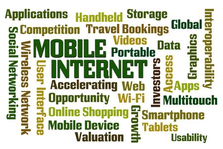 interoperability: Mobile Internet word cloud on white background Stock Photo