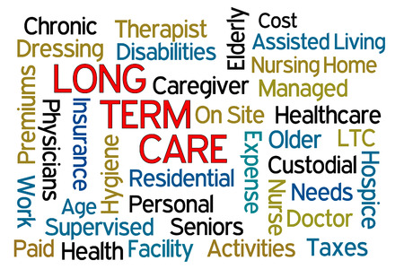 Long Term Care word cloud on white background Stock Photo