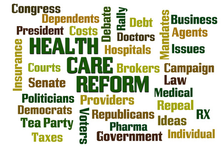Health Care Reform Word Cloud on White Background photo
