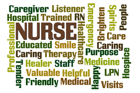 trained nurse: Nurse word cloud on white background Stock Photo