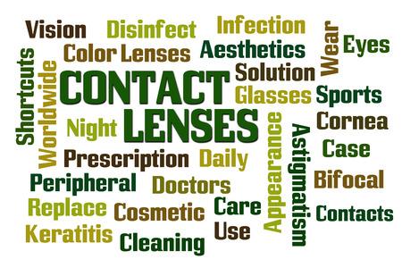 lentes de contacto: Lentes de contacto de nube de palabras en el fondo blanco