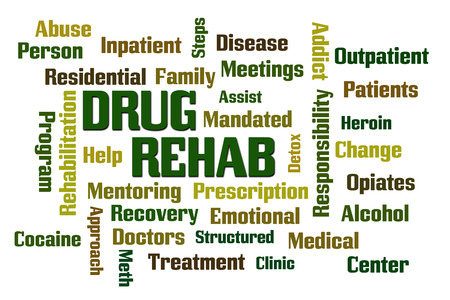 mandated: Drug Rehab word cloud with White Background