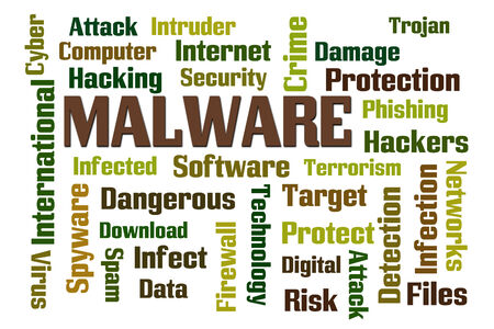 Malware word cloud on white background photo