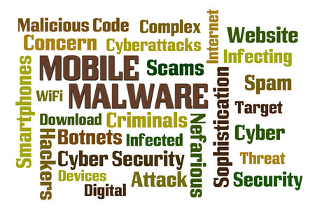 Mobile Malware word cloud on white background photo
