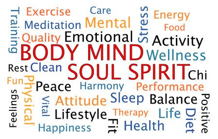 Body Mind Soul Spirit word cloud on white background Foto de archivo