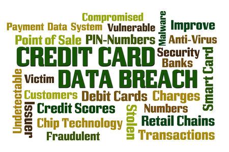 breach: Credit Card Data Breach word cloud on white background