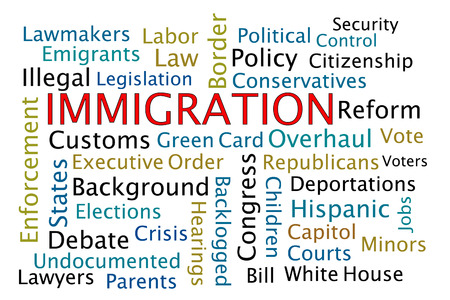 emigranti: Nuvola parola Immigrazione su sfondo bianco Archivio Fotografico