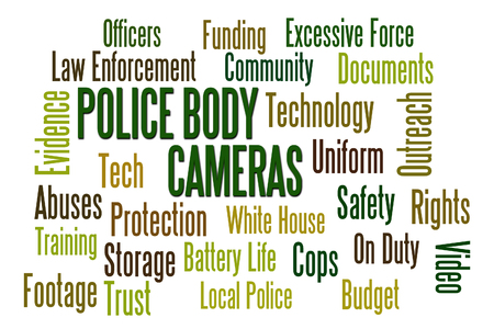 evidence: Police Body Cameras word cloud on white background Stock Photo