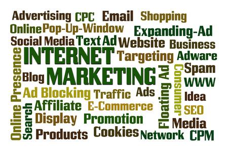 online internet presence: Internet Marketing word cloud on white background