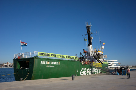 greenpeace: VALENCIA, SPAIN - DECEMBER 5, 2014: Greenpeaces vessel the Arctic Sunrise at the Port of Valencia. Greenpeace is a nongovernmental environmental organization with offices in over 40 countries.
