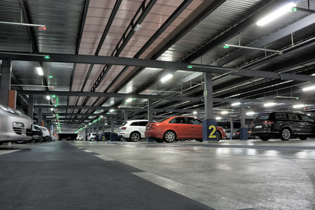 Airport or Underground Parking Garage with Cars