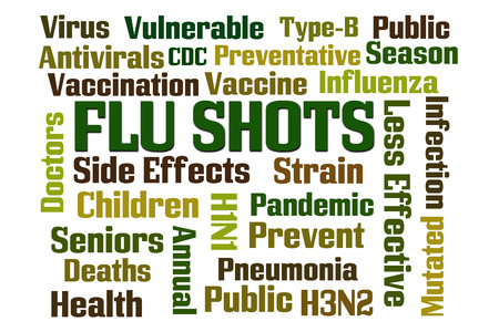 h1n1 vaccines: Flu Shots word cloud on white background.