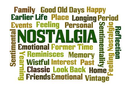 nostalgia: Nostalgia word cloud on white background Stock Photo