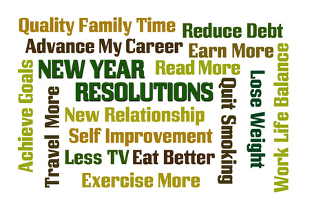 debt goals: New Year Resolutions word cloud on white background Stock Photo